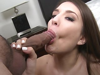 Teen cutie Zarena Summers has fire in her eyes as she gets her lovely face covered in sperm