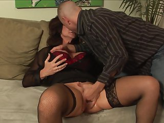 Mr Pete makes Brunette whore with juicy breasts suck his meaty ram rod non-stop