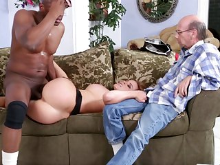 Blonde Krissy Lynn puts her luscious lips on Prince Yashua's cock, dick, pole, meat pole, meatsturdy love stick