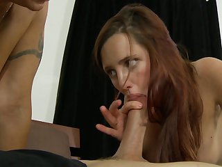 Brunette vixen Brittany Blaze with juicy breasts has great dick sucking experience and expands it with hot fuck buddy