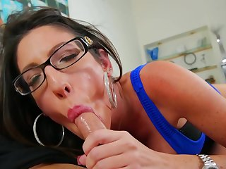 Brunette makes her dirty dreams a reality with dude's cock deep down her throat
