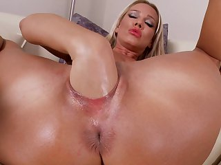 Blonde Sandy can't live a day without taking sex toy in her wet spot