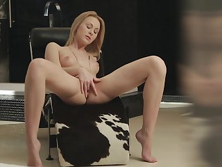 Blonde shows every inch of her body before her masturbates on cam