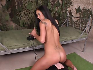 Brunette proves that her body is just perfect as she masturbates naked