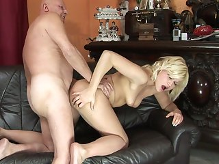 Blonde gets cum covered after sex with hot dude
