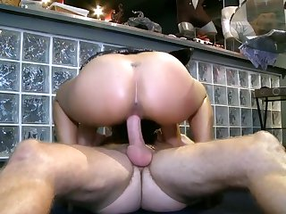 With big hooters and bald bush wraps her lips around Levi Cash's sturdy rod