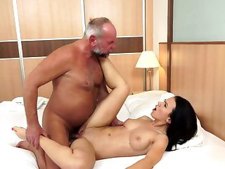Brunette with giant boobs is on the edge of nirvana with hard boner in her twat
