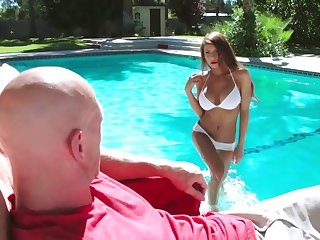 Brunette Madison Ivy with gigantic boobs and Johnny Sins have a lot of fun in this blowjob action