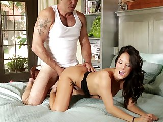 Brunette kitty gets cum drenched after sex with horny dude