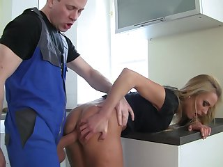 David Perry touches the hottest parts of hot Laura Crystal's body before he drills her mouth after she takes it in her bum