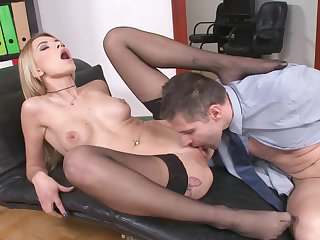 Skinny babe Karina Grand gets banged in the office