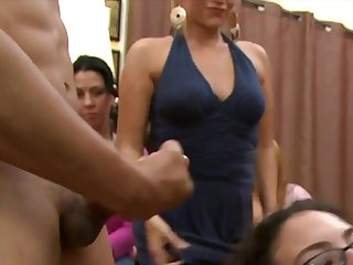 Wild party babes cocksucking stripper