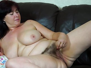 Real mature busty mother with hairy pussy