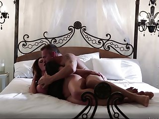 Marcus London gets his always hard dick sucked by Brunette Ariella Ferrera with huge hooters