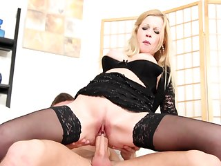 Blonde gets her many times used mouth fucked again by horny man