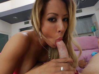 Blonde with juicy knockers knows no limits when it comes to fucking with hard dicked fuck buddy