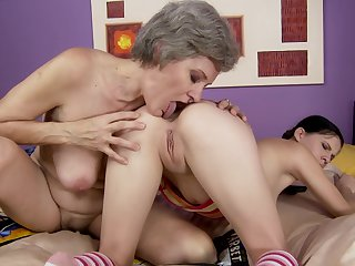 Teen Szasza with giant boobs having unforgettable lesbian sex with Aliz