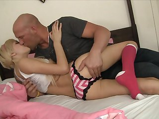 Christian ejaculates after Blonde Emma Mae gives magic throat job