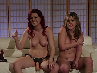 Redhead Sovereign Syre and Brett Rossi shows it all and then take care of each other's lesbian wet cunt